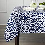 Gravan Rectangle Polyester Tablecloth Vintage Printed and Spill Proof Table Cover for Home and Kitchen, 60x120 Inch Oblong, Blue and White