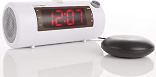 The Sonic Blast - Super Loud Projection Alarm Clock with Bluetooth Speaker & Sonic Bomb Super Shaker (White)