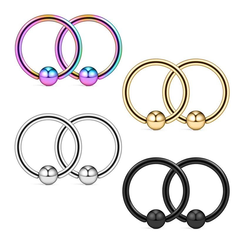 Ruifan 8PCS Assorted Colors Stainless Steel Body Jewelry Ball Eyebrow Ear Navel Belly Lip Piercing Bar Ring 16G 8mm