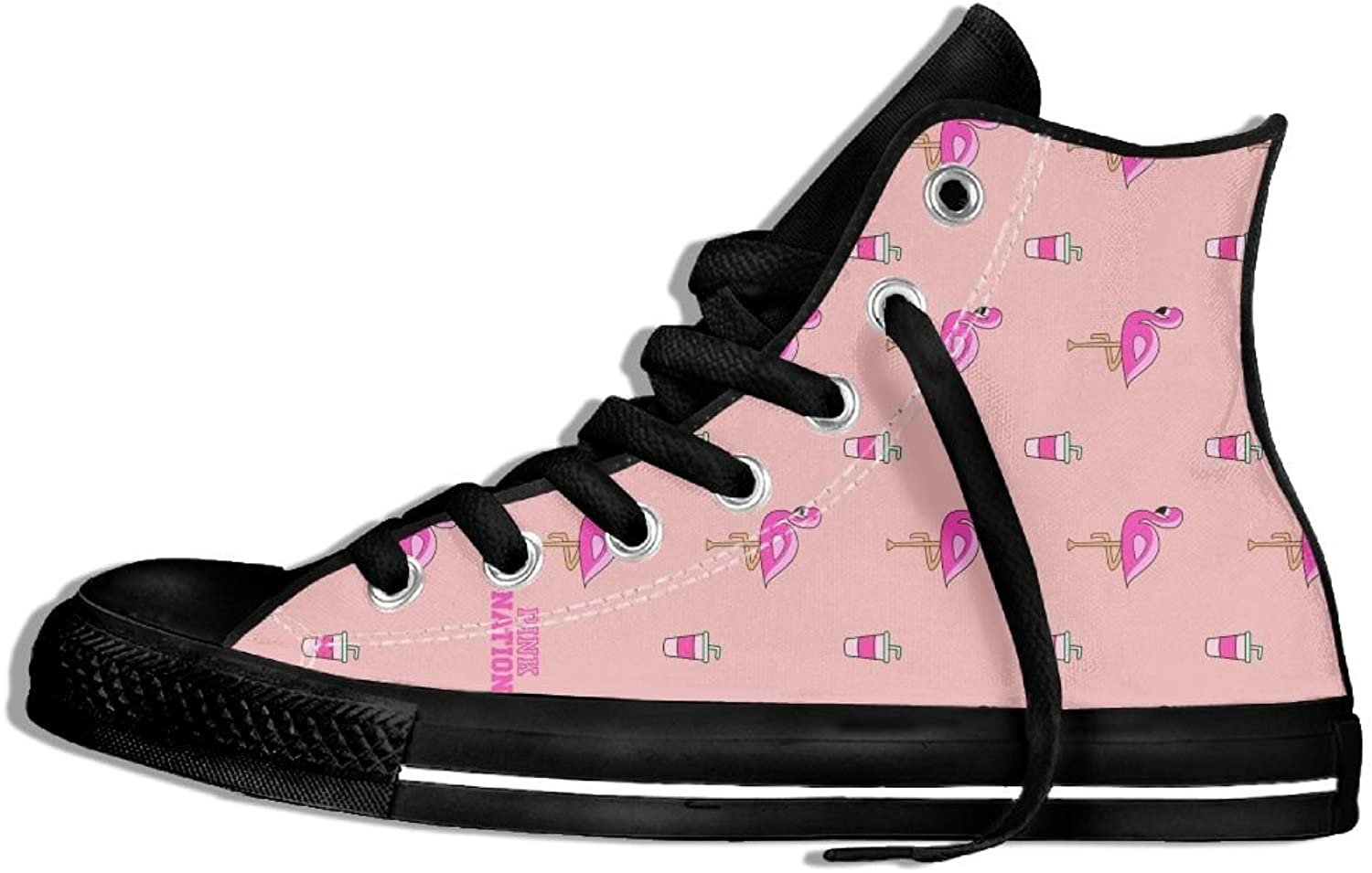 Unisex High-Top Canvas Sneakers Cute Pink Flamingos Round Toe Anti-slip Walking Trainers shoes