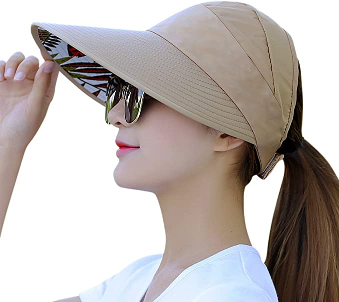 HINDAWI Sun Hat Sun Hats for Women UV Protection Wide Brim Packable Visor Womens Floppy Beach Outdoor Caps Sky Blue