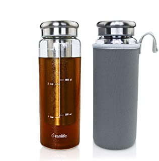Cold Brew Coffee Bottle by Oranlife 26 oz Portable Iced Tea Brewing Coffee with Deep Removable Stainless Steel Filter and Airtight Lid Infuser for Travel, Business, Outdoor