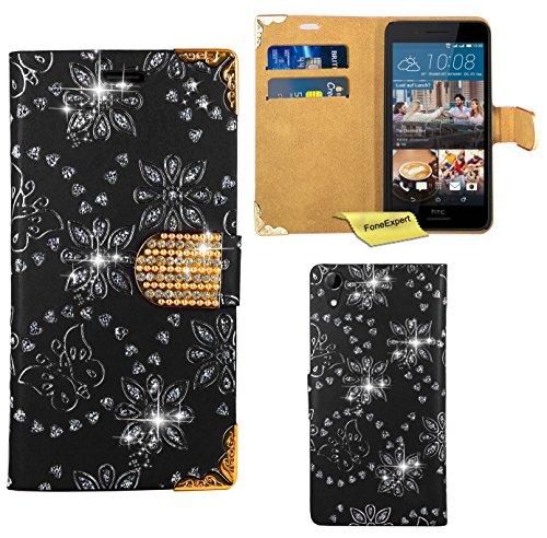 HTC Desire 728G Handy Tasche, FoneExpert® Bling Luxus Diamant Hülle Wallet Hülle Cover Hüllen Etui Ledertasche Premium Lederhülle Schutzhülle für HTC Desire 728G (Schwarz)