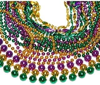 Toomey's Mardi Gras Beads -Purple Green Gold mix 48