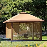 Suntime Outdoor Pop Up Gazebo Canopy with Mosquito Netting and Solar...