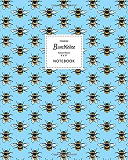 Bumblebee Notebook - Ruled Pages - 8x10 - Premium: (Sky Blue Edition) Fun notebook 192 ruled/lined pages (8x10 inches / 20...