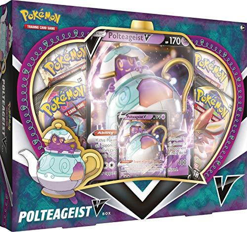 Pokemon TCG: Polteageist V Box | 4 Booster Packs | 1 Foil Card | 1 Oversize Card | Genuine Cards