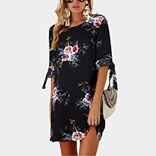 FDBZ Plus Size Summer Women Printed Half Sleeve Straight Dress Tie Up Sleeve Casual Loose Mini Dresses Big Size |Dresses,0881 Black,5XL