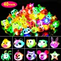 SCIONE Light Up Rings40 pcs,Birthday Party Favor for Kids LED Animal Rubber Jelly Rings Flashing Finger Bulk Toys Boxed,Glow in the Dark Party Supplies Kids Prizes Novelty Cute Gifts Party Bag Filler by L-U-R-2
