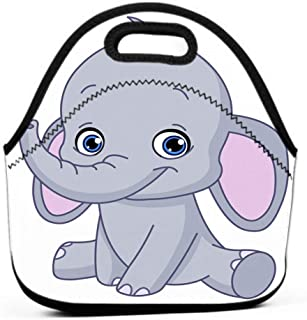 Lunch Bag,Printed Insulated Lunch Box School Picnic Thermal Carrying Gourmet Food Container Baby Elephant Happy Retro