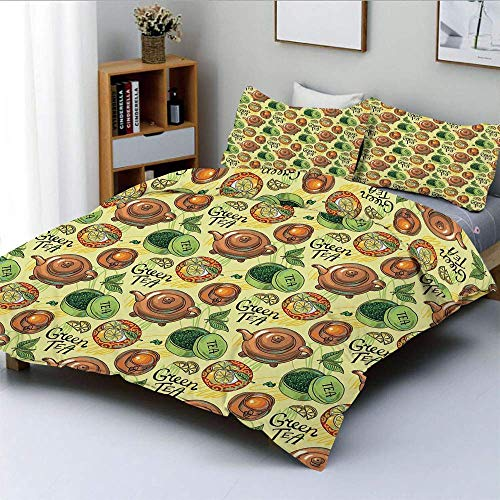 Duvet Cover Set,Green Tea Theme Pattern with Lemon Slices Herbal Leaves Healthy Aromatic Beverage DecorativeDecorative 3 Piece Bedding Set with 2 Pillow Sham,Multicolor,Best Gi Easy Care Ant