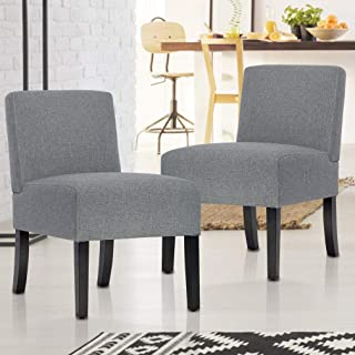 BestMassage Modern Design Fabric Armless Accent Dining Chairs Sofa with Solid Wood Legs, Set of 2