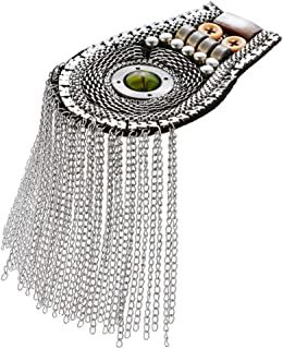 JIANGXIUQIN-AC Fringe Shoulder Chain Metal Epaulettes Beads Punk Blazer Shoulder Epaulets Tassel Chain Fringe Epault(Gold) Epaulette Shoulder Badge Uniform Accessories (Color : Silver)