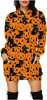Women Halloween Hoodie Dress Y2K Pumpkin Black Cat Print Hoodie Dress Sweatshirt Casual Long Sleeve Short Dress