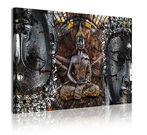 DekoArte 318 - Cuadros Modernos Impresión de Imagen Artística Digitalizada | Lienzo Decorativo Para Tu Salón o Dormitorio | Estilo Zen con Buda en Bronce, Blanco y Negro | 1 Pieza 120 x 80 cm