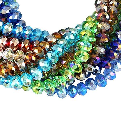 PandaHall 720PCS Perline Vetro Placcatura Perline Colorate Sfaccettate Placcate Abaco AB Colore Misto per Braccialetti collane bigiotteria 8mm in Diametro, Foro: 1mm, Circa 72pcs/ Filo, 10 Fili