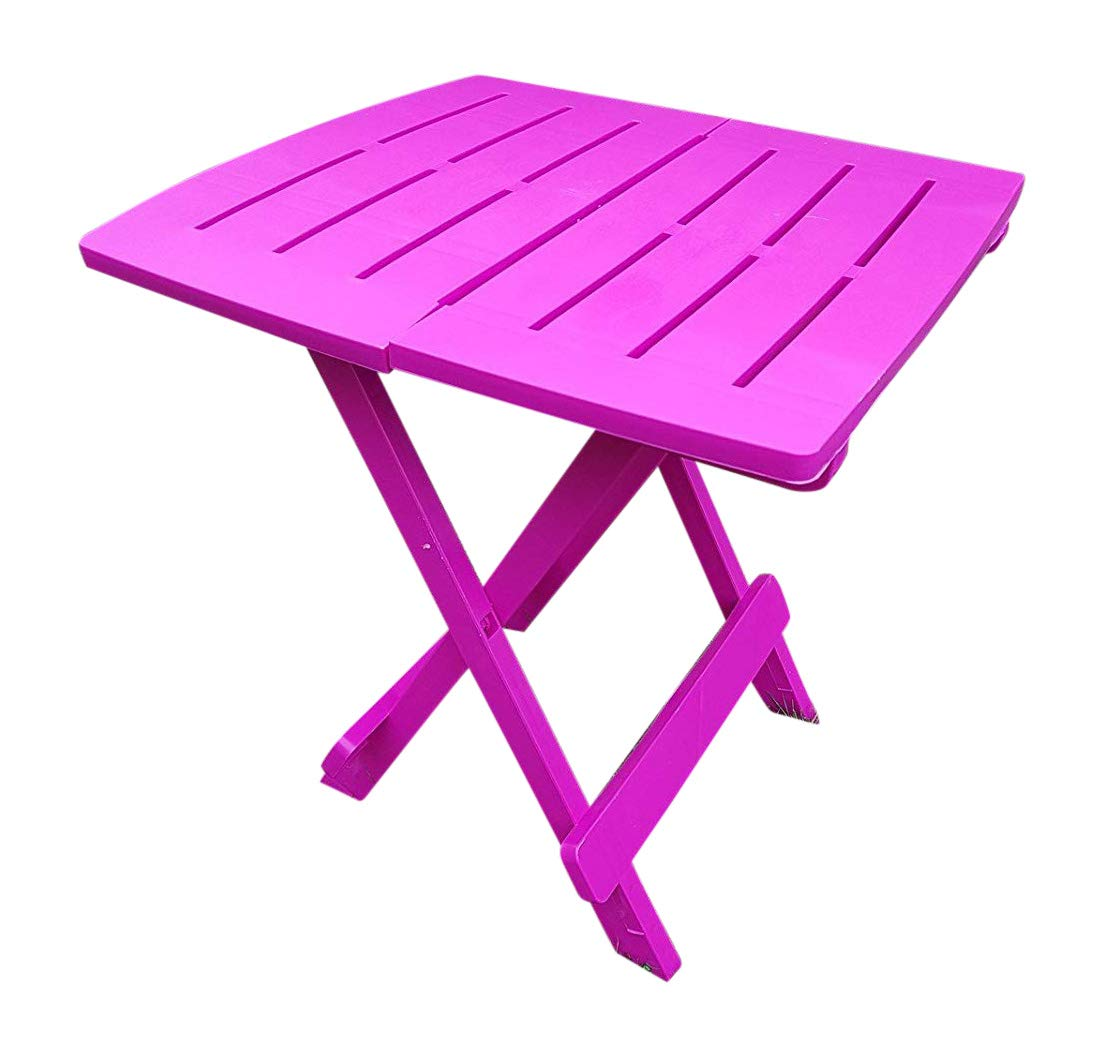UK-Gardens Mesa auxiliar de jardín, de resina, color rosa, plegable, ligera: Amazon.es: Jardín