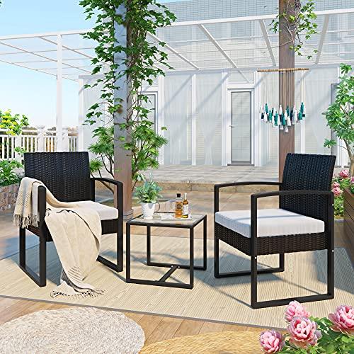 OSJ ラタン調 ガーデンファニチャー 3点 ガーデンテーブル ガーデンチェアー ラタン調 テーブル 家具 樹脂 ホテル カフェ ベランダ テラス 屋外家具 高級 ソファ ガーデンソファー ガーデニング 自信作 (ホワイト)