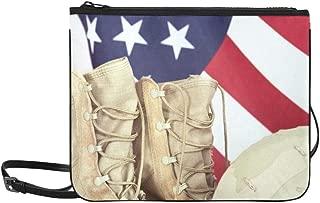 Old Combat Boots Helmet American Flag Custom High-grade Nylon Slim Clutch Bag Cross-body Bag Shoulder Bag