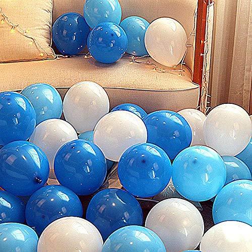 """""""N/A"""" 100 Globos De Colores Gruesos para La Decoración De Bodas Y Cumpleaños, 100 Bolas (Azul Oscuro + Azul Claro + Blanco)"""