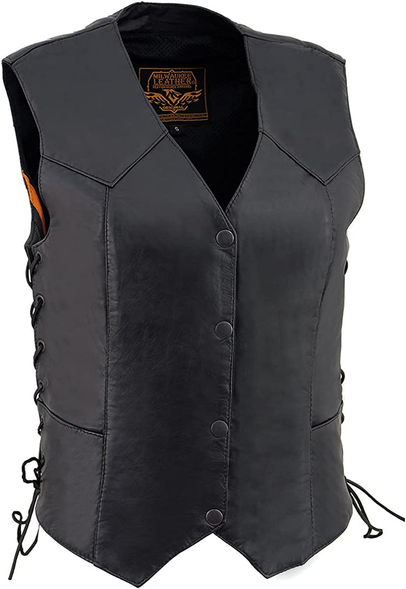 Milwaukee Leather SH1227L Ladies Black Classic Leather Vest with Side Laces