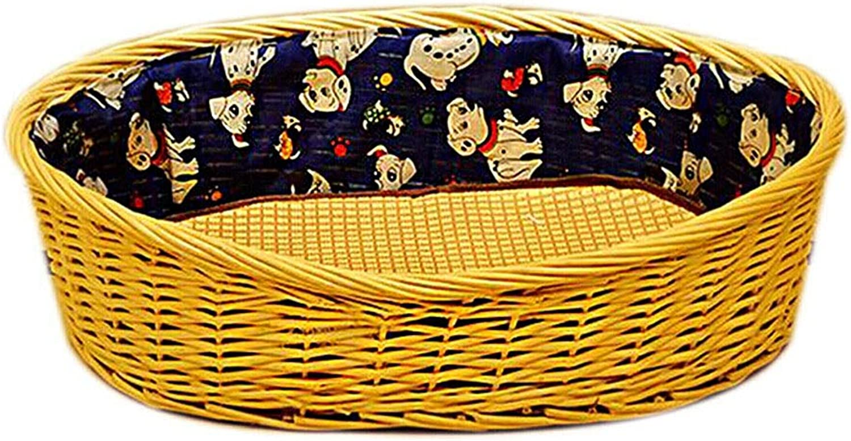 DSADDSD Pet Bed Summer Woven Pet Nest Kennel Cat Nest Washable Durable Comfortable Pet Supplies (Size   61cm54cm16cm)