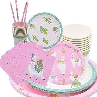 69Pcs Alpaca Cactuss Party Tableware Dinnerware Paper Plates Napkins Cups Disposable Dinner Dessert Plates Paper Straws fo...