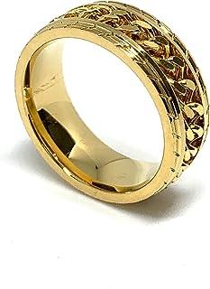 خواتم للرجال والنساء، تصميم سلسلة ذهبية اللون، ستانلس ستيل.