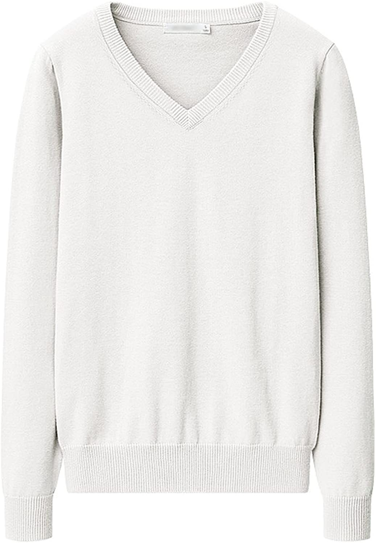 Spring vneck cotton Slim sweater women's longsleeved knit blouse