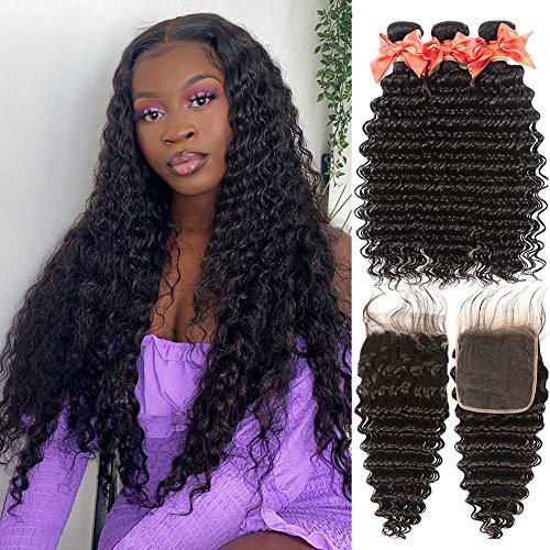 Deep Wave Bundles with Closure Free Part Brazilian Virgin Human Hair 3 Bundles With Free Part Closure Deep Wave Bundles Human Hair Extensions Natural Color (16 18 20+14 lace closure)