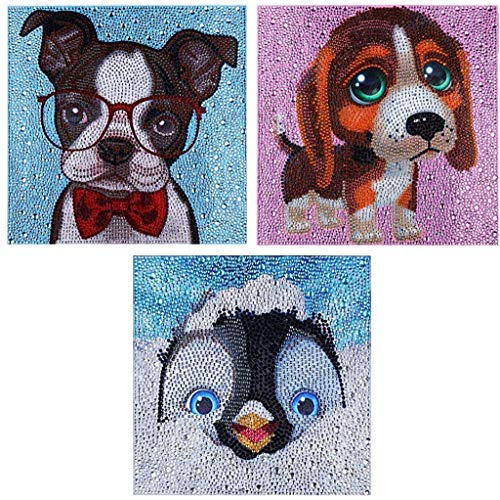 SIIYIX 3-Pack Diamond Painting for Kids Painting by Number Kits Diamond Art Dotz Dots 5D Full Drill Rhinestone Crystal Easy Painting for Kids Children Beginners (Dog,Dog,Penguin)