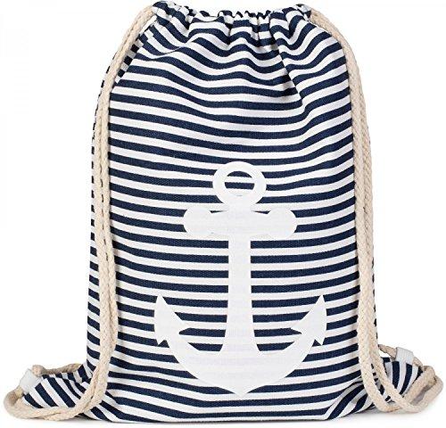 styleBREAKER Turnbeutel Rucksack im maritimen Design mit Streifen und Anker Print, Sportbeutel, Unisex 02012052, Farbe:Marine-Weiß/Weiß