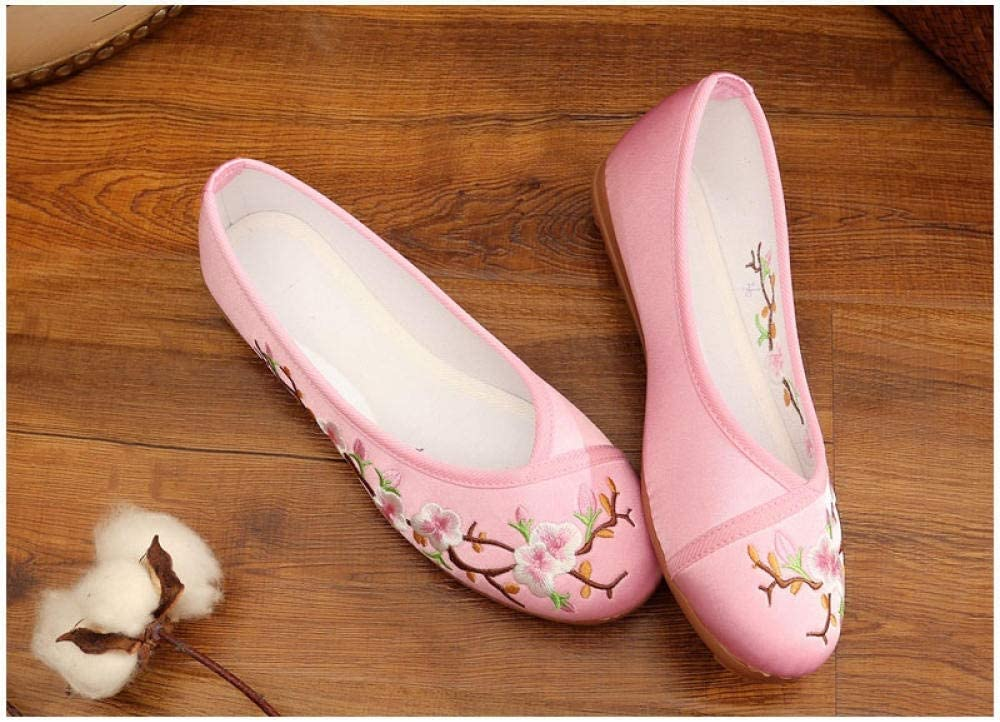 SGADSH Peach Flower Embroidered Women Mail order Flats Ballet Canvas 2021 autumn and winter new Ladies