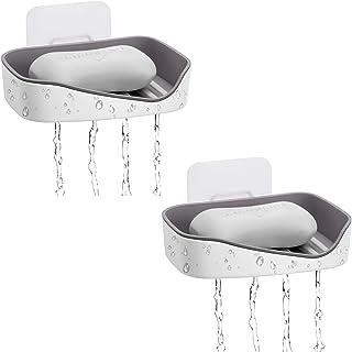 お風呂 石鹸置き 石鹸ホルダー SINNKATEI 釘打ちなし 粘着シート 速乾 水切り 壁吸盤式 お風呂 バス用品 浴室 洗面台などに最適 ソープディッシュ 灰色 2パック