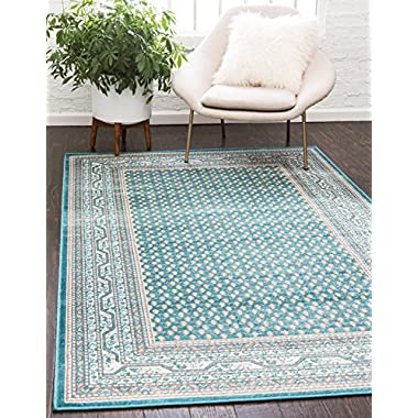 Unique Loom Williamsburg Collection Low Pile Height Tribal Traditional Overall Pattern Teal Area Rug (8' x 10')