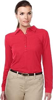 Tri-Mountain Performance KL103LS Womens 100% Polyester Knit Long Sleeve Golf Shirt