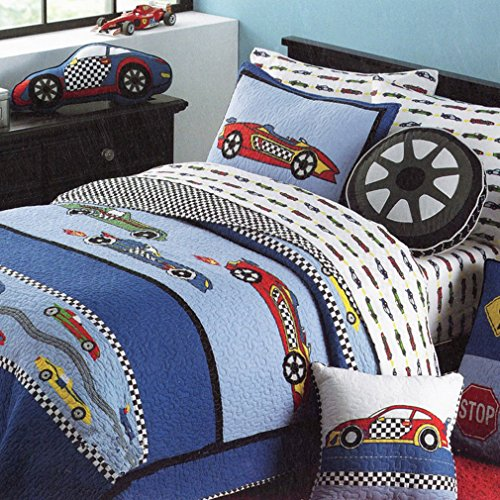 HNNSI Cotton Kids Quilt Bedspread Set for Boys 2PCS Twin Size, Sports Car Boys Comforter Bedding Sets, Teens Children Quilt Sets(Sports Car)