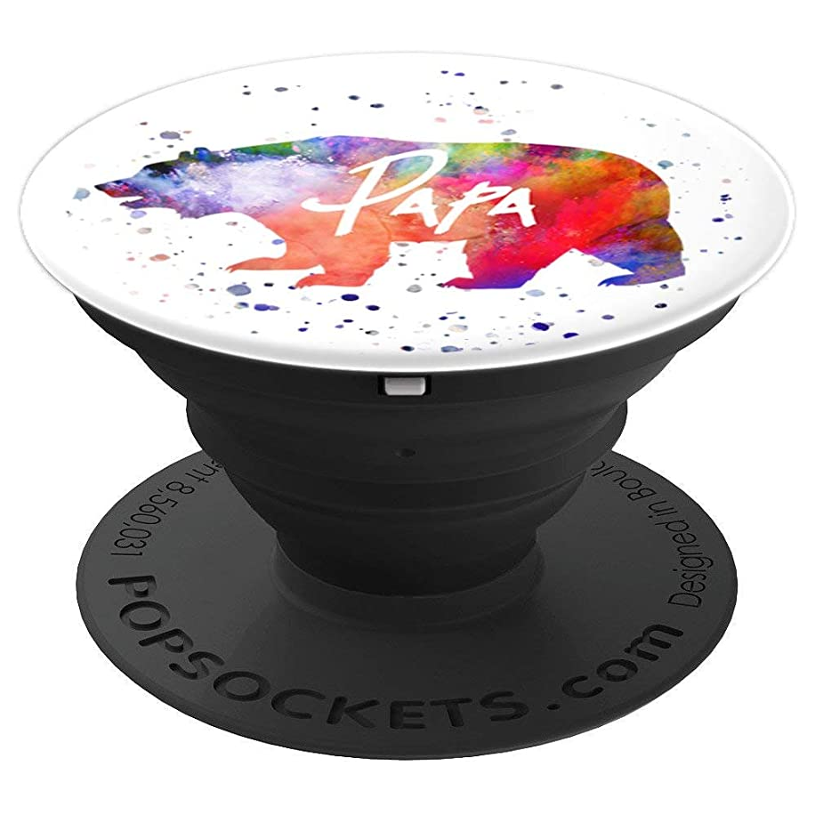Cute PaPa Bear Animal Lover Paint Splatter Gift Men Him - PopSockets Grip and Stand for Phones and Tablets