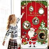 FEPITO Weihnachten werfen Spiel Weihnachtsmann Cornhole Spiel mit 4 Sitzsäcken Lustiges Festspiel für Kinder bei Weihnachtsfeiern