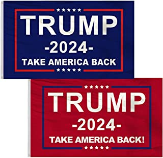 Donald Trump 2024 Flag - Take America Back Flag, 3x5FT, 2 PACKS.Perfect for Re-Elect Trump outdoor indoor Decor
