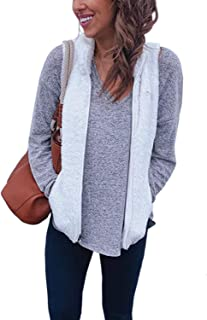 Yacun Women Fleece Vest Zip up Collar Lightweight Warm Pocket Waistcoat