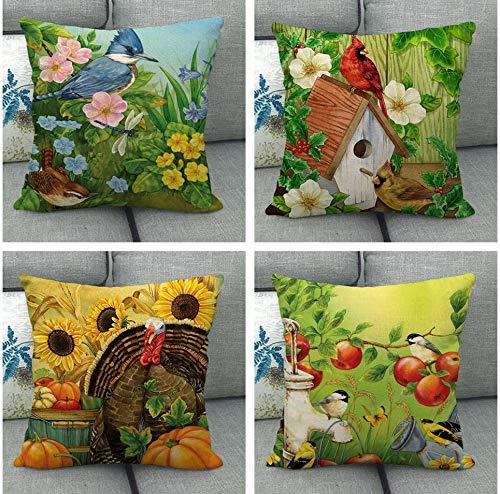 JgZATOA CushionCover Watercolor Flower BirdPillowCaseLivingRoomSofaCouchBedPillowcasesOffice45CmX45CmSetOf4