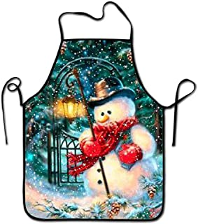 Amuseds Cross Stitch Snowman Unisex Kitchen Chef Apron - Chef Apron for Cooking,Baking,Crafting,Gardening and BBQ