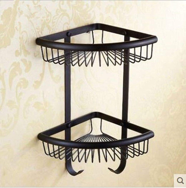 LUDSUY European Bronze Black Triangle Basket Tripod Double Hook Bathroom Shelf Baskets, C