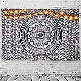 GeeRic Tapiz Pared, Tapiz de Mandala tapices de Pared de algodón Indio, Colcha de pícnic, Manta de Pared, Tapices Decorativos 150 × 230 cm Patrón Blanco y Negro