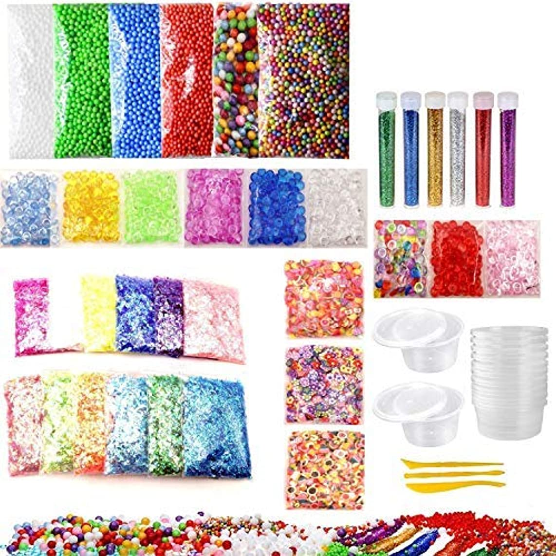 SAIBANG Cheap Slime Supplies Kit for Kids, 52 Pack Slime Beads Charms Include DIY Slimes Containers, Foam Balls, Fishbowl, Glitter Jars, Fruit Slices, Colorful Sugar Paper for Fluffy Slime Making