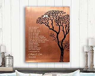 1 Corinthians Love is Patient Faux Copper Bare Tree Personalized Tin 10 Year Winter Wedding Anniversary Gift #1296 Paper Print