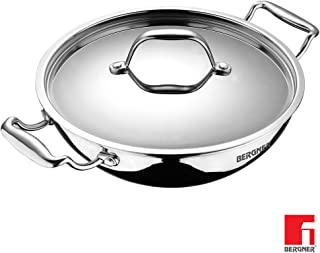 Bergner Argent Triply Stainless Steel Kadhai with Stainless Steel Lid, 24 cm, 2.5 Litres