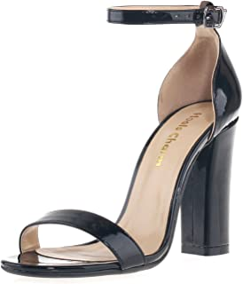1c61ecdf446 Women s Strappy Chunky Block Sandals Ankle Strap Open Toe High Heel for  Dress Wedding Party Evening