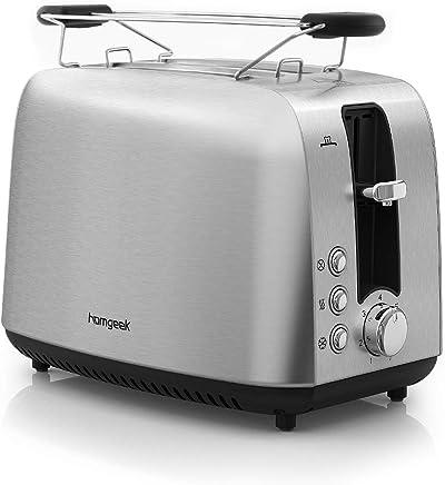 homgeek  Tostadora, 7 Niveles de Browning, 850W, Funciones de descongelación y recalentamiento - Acero Inoxidable, 2 Slice